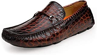 Sponsored Ad - ERGGU Men's Cowhide Leather Moccasin Crocodile Printed Slip-on Softsole Driving Shoes