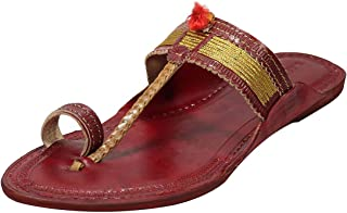 KALAPURI Ladies Comfortable Kolhapuri Chappal in Export Quality Genuine Leather with Red Pointed Shape Base and Traditiona...