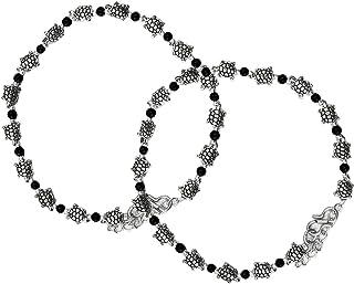 AyA Fashion Black Oxidised German Silver Tortoise Beads Anklet for Women