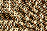 Tessuto al metro: Cady fantasia etnica marrone e senape