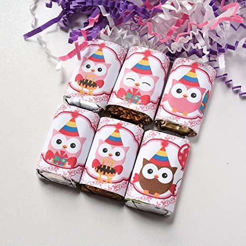54 Owl Baby Shower Stickers Labels, Owl Candy Wrappers, Owl Birthday Favor Labels