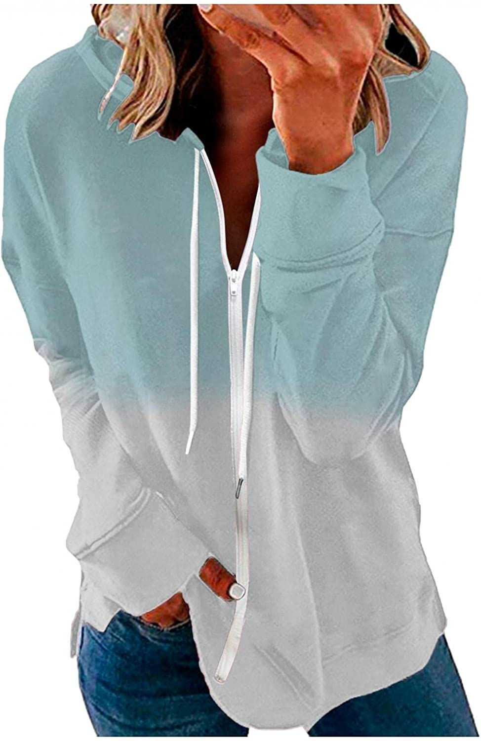 Jeepuch Hoodies for Women Long Sleeve Zip Up Gradient Sweatshirt Loose Pullover Shirts Activewear Jacket with Pocket