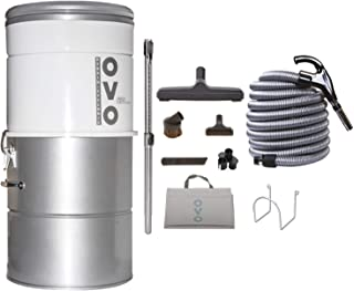Best OVO Large and Powerful Central Vacuum System, Hybrid Filtration (With or Without disposable bags) 25L or 6.6 Gal, 630 Air watts and 30 ft Deluxe Accessory Kit included, 30ft/NA, sliver Review