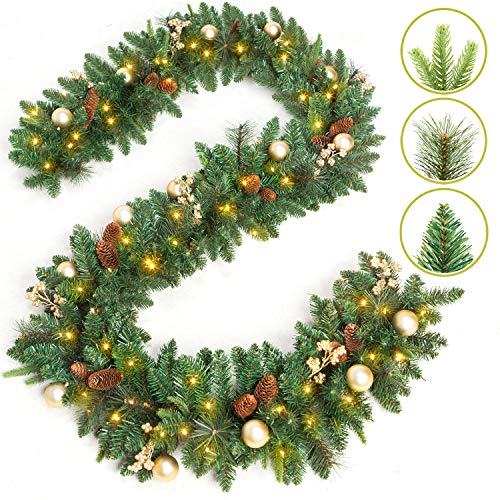 9 FT by 12 Inch Prelit Christmas Garland Battery Operated with 50 Warm Lights, Xmas Garland Greenery Outdoor with Pine Cones and Timer, Front door Mantle Garland Christmas Holiday Decoration Indoor