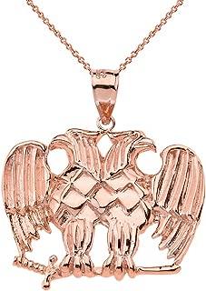 Solid 10k Rose Gold Double Headed Eagle Masonic Pendant Necklace