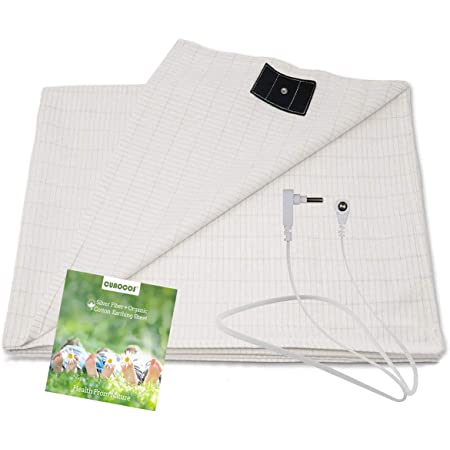 Grounding Sheet with Grounding Cord - Materials Organic Cotton and Silver Fiber Improve Sleep Natural Wellness (27 * 52 inch)