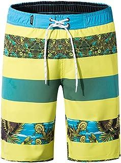 Yutao Mens Shorts Swim Trunks Quick Dry Beach Surfing Shirts Print Running Swimming Watershorts Yellow