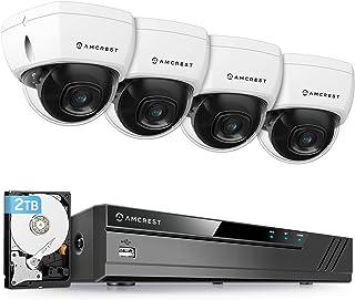 Amcrest 4K 8CH Security Camera System w/ 4K (8MP) NVR, (4) x 4K (8-Megapixel) IP67 Weatherproof Metal Dome POE IP Cameras...