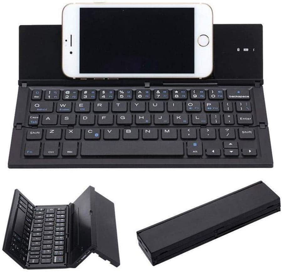 Flat Folding Wireless Keyboard Multi-System Universal Easy to Carry Mini Silent Office Creative Fashion Light Luxury Touchpad Black