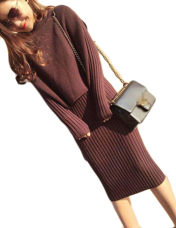 Pandapang Womens Fashion Solid Knit Long Sleeve Dress Sweater Vest Set