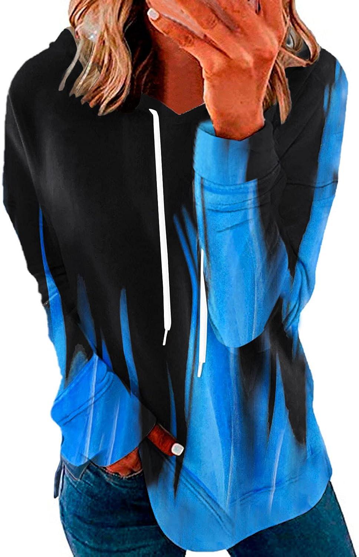 Womens Hoodie Sweatshirt Plus Size Long Sleeve Pullover Fashion Tie Dye Shirts Loose Fit Hooded Tops