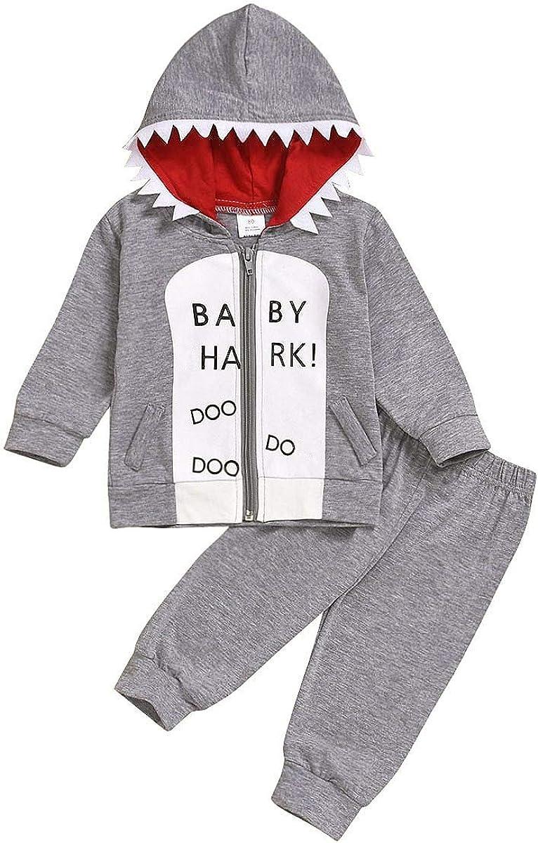 Toddler Baby Boys Fall Winter Warm Clothes Gray Shark Hooded Zip Up Sweatshirt Top +Cute Long Pants Outfits Set