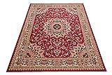 Carpeto Klassischer Orientteppich & Perserteppich mit Orientalisch Ornamente Mandala Muster Kurzflor in Beige Rot/TOP Preis - ÖKO TEX (200 x 300 cm)
