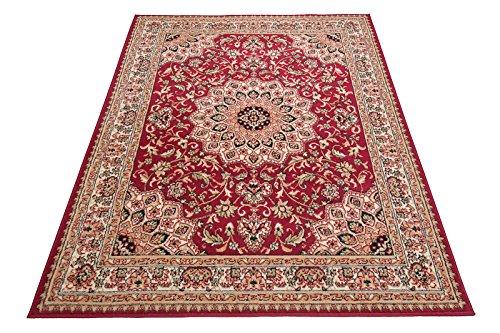 Carpeto Rugs Klassischer Orientteppich & Perserteppich mit Orientalisch Ornamente Mandala Muster Kurzflor in Beige Rot/TOP Preis - ÖKO TEX (250 x 300 cm)