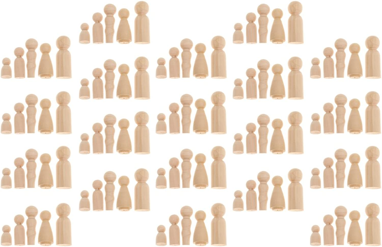 CUTICATE 100PCS Wooden Dolls to Paint Blank Peg Doll Bodies - Family People Shapes Craft, Wedding   Birthday Cake Toppers
