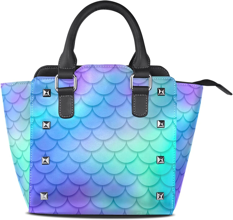 Women's Top Handle Satchel Handbag Magic bluee Mermaid Scale Ladies PU Leather Shoulder Bag Crossbody Bag