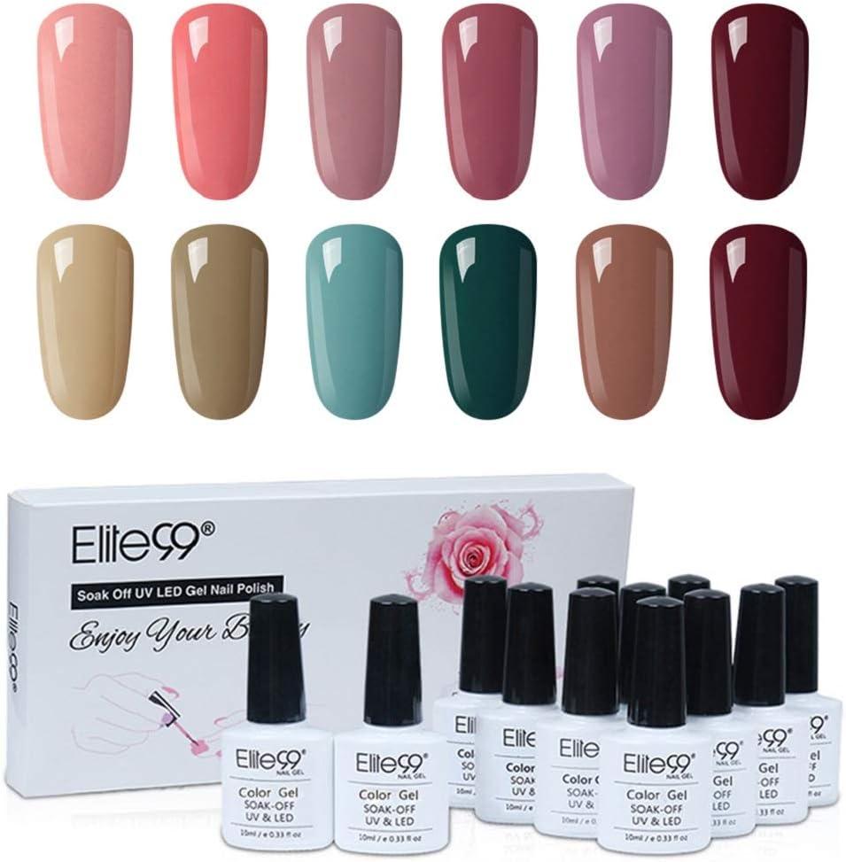 Elite99 Esmaltes Semipermanentes de Uñas en Gel UV LED, 12 Colores Kit de Esmaltes de Uñas 001