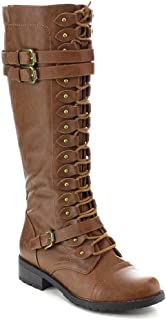 Timberly Women's Fashion Lace Up Buckle Knee High Combat Boots