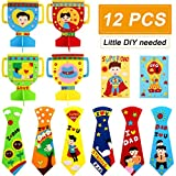 12 Piece Boys Girls DIY Handicraft Kit for Father's Day, Fun DIY Non-Woven Handicrafts Daddys Day Craft, 6 Ties 4 Trophies 2 Certificates Ideal Present for Father's Day Father's Birthday