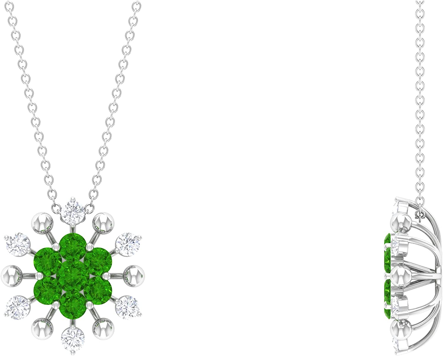 favorite 1.25 CT Created Tsavorite Free shipping and Cluster Floral Pendant Diamond Nec