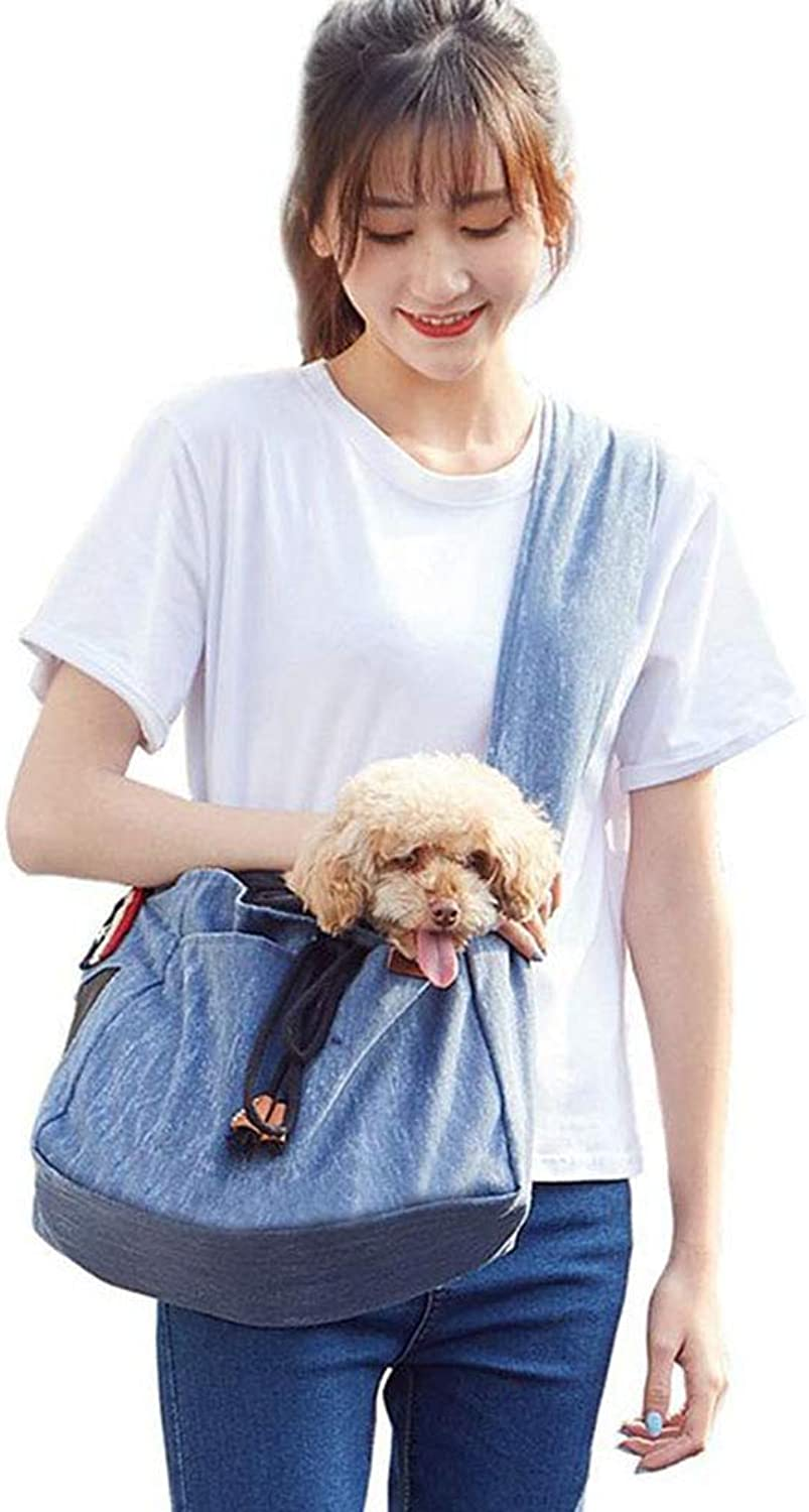 Pet Sling Carrier for Small Dogs and Puppy  Hands Free Soft Safety Comfortable Pet Front Pack Carrier Shoulder Travel Bag with Adjustable Strap for Walking, Hiking(bluee)