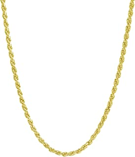 """18K Gold 1.5MM Diamond Cut Rope Chain Necklace - Made in Italy -14""""-30"""" - Yellow, White, Or Rose Gold"""