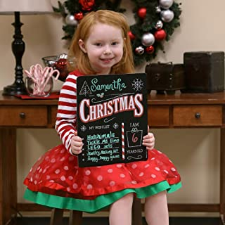 """Christmas Wish List Sign, Plastic Board with Chalkboard Surface. Customizable Photo Prop, Great for Kids-Use with Chalk or Liquid Chalk Markers (Not Included)-Easy Clean, Lightweight, Durable 12""""x10"""""""