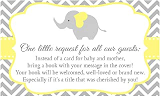 Chevron Elephant Bring A Book Cards, Baby Shower, Gender Neutral Baby Shower, Gender Neutral, Elephants, Chevron, Stripes, Yellow, Gray, Grey, Girls, Boys, Baby Sprinkle, 24 Pack Printed Book Inserts