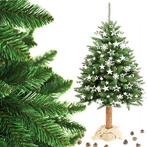 MW.Shop.24 - Árbol de Navidad Artificial en Maceta de Yute con Tronco de Madera auténtica