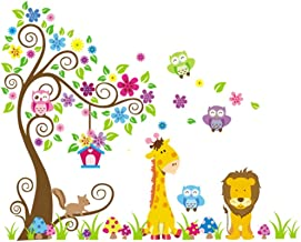 Rainbow Unicorn Kids Jungle Theme Peel & Stick Tatuajes de pared 35