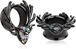 (1 Pair Black Sea-Shell Forest Antlers Slivery Opal Ear Plugs Tunnels Gauges Stretcher Piercings