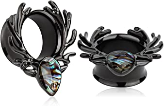 KUBOOZ(1 Pair Black Sea-Shell Forest Antlers Slivery Opal Ear Plugs Tunnels Gauges Stretcher Piercings