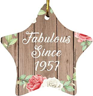 64th Birthday Fabulous Since 1957 - Star Wood Ornament B Christmas Tree Hanging Decor - for Friend Kid Daughter Son Grand-...
