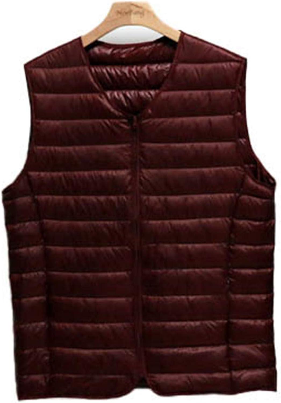 IGJMOD Couples V-Neck Ultra Light Down Vest Zipper Waistcoat Warm Liner Vest Wine XXL