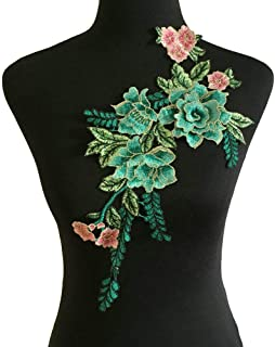 Flowers Embroidered Patch Sticker for Clothing Jacket Jeans Lace Applique DIY Clothes Decorations Fabric Patches (Color C ...