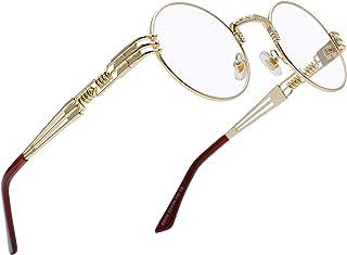 f34595b33 RANHUU Steampunk Round Glasses for Men and Women John Lennon Glasses Quavo  Circle Metal Frame Eyewear