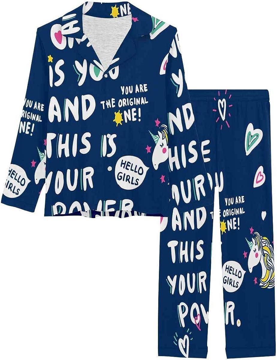 InterestPrint Long Sleeve Nightwear Button Down Loungewear for Women Graphic Tee and Printed Tee