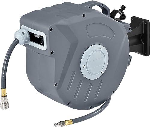Juskys Druckluftschlauch Aufroller Pressure 20m automatisch – Schlauchaufroller ¼ Zoll mit Aufroll-Automatik – Schlau...