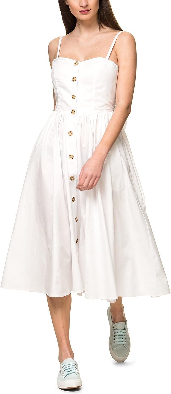 Free People Women's Perfect Peach Poplin Women's White Midi Dress 100% Cotton
