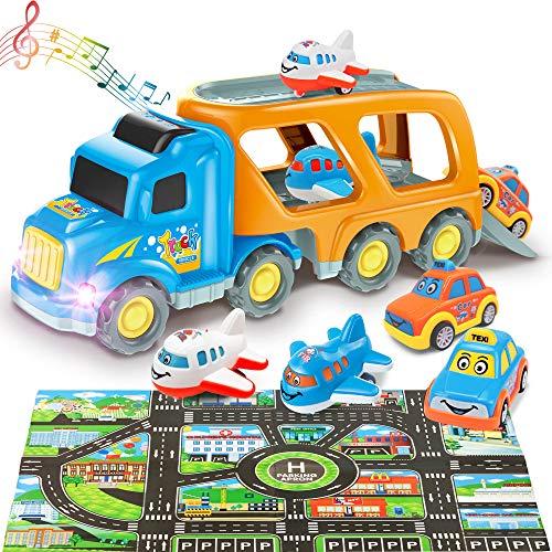 Paochocky 5 en 1 Camión Transportador Coches Juguete con Luz y Sonido Incluye Aviones autobús Taxi Coches Juguete con Alfombra de Juego Regalo de Cumpleaños Fiestas para Niños 3 4 5 6 7 8 años