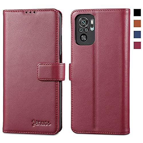 Jenuos für Redmi Note 10 Hülle Echtleder,Xiaomi Redmi Note 10S Handyhülle Klappbar Schutzhülle Flip Cover mit [Magnetic Closure] [Card Slot] [Kickstand] -Wein Rot(MN10-PG-WR)