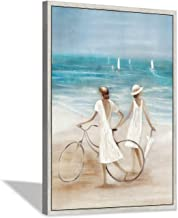 Hardy Gallery Abstract Beach Canvas Painting Picture: Hand Painted Coastal Artwork Women & Bicycle Wall Art Framed for Liv...