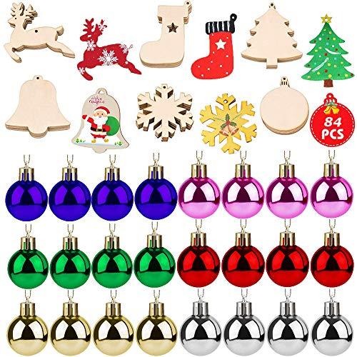 N/AA CoUnicorn - Set di decorazioni natalizie in legno non compiuti, 60 palline per albero di...