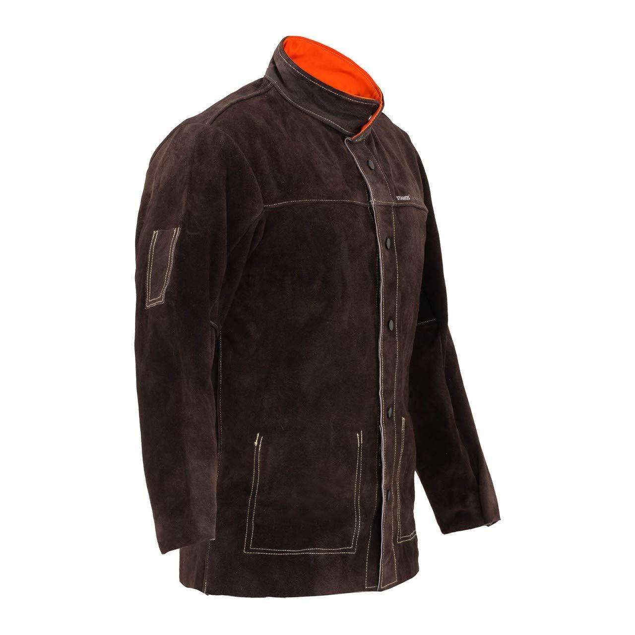 Stamos Welding Chaqueta de soldador Ropa Trabajo SWJ01M (Talla M, Cuero vacuno, Costuras resistentes al calor, Botones aislantes) Verde oscuro: Amazon.es: Bricolaje y herramientas