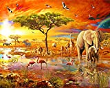 N\A Pintura por números para adultos, regalo para amigos, pintura de sabana africana, elefante, paisaje de puesta de sol, 40 x 50 cm