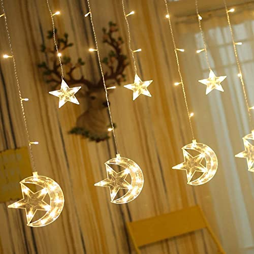wholesale Twinkle high quality Star 138 LED Star Moon Curtain String Lights, Window Curtain Lights online with 8 Flashing Modes Ramadan Decoration Christmas Wedding, Party, Home, Patio Lawn Decorations, Warm White outlet online sale