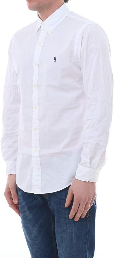 Polo Ralph Lauren Mod. 710792044 Camisa Popelín Stretch Custom Fit Hombre Blanco