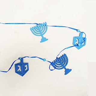 Rite Lite Chanukah Felt Garland with Die-cut Menorahs and Draydels - 1/pkg.