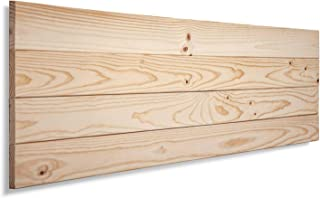 SUENOSZZZ-ESPECIALISTAS DEL DESCANSO Cabecero de Cama de Madera TREVINCA Color Crudo para Pared. Cabecero de Tablas Horizontales. Estilo Vintage, para Camas de 90 y 105