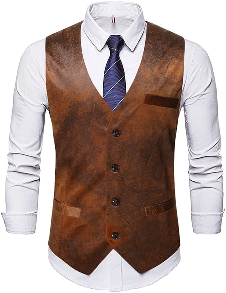 GPPZM Mens Suit Vest V Neck Artificial Leather Single-Breasted Slim Fit for Men Sleeveless Formal Casual Waistcoat (Color : A, Size : M Code)